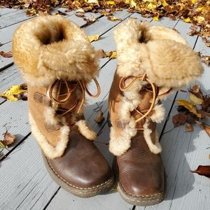 Born Shearling Lace Up Leather Boots